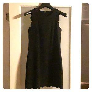 J Crew Black Scalloped Dress